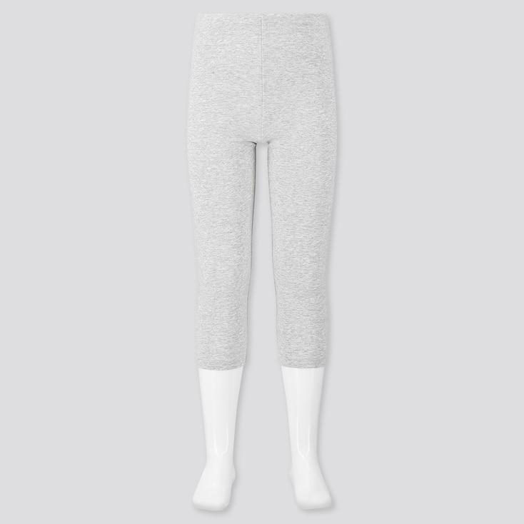 Girls Dry Cropped Leggings, Gray, Large