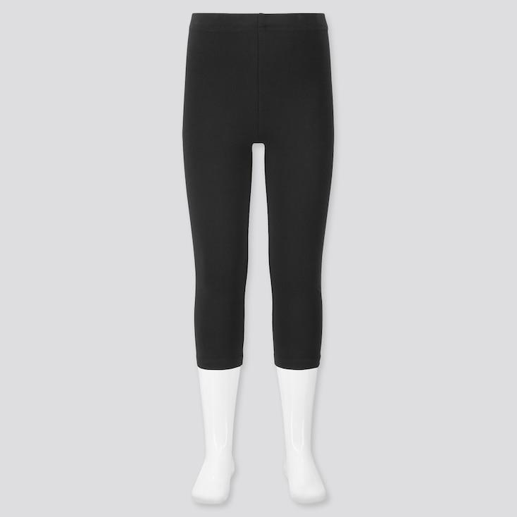 Girls Dry Cropped Leggings, Black, Large