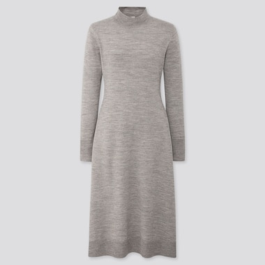 WOMEN MERINO-BLEND FLARE LONG-SLEEVE LONG DRESS, GRAY, medium
