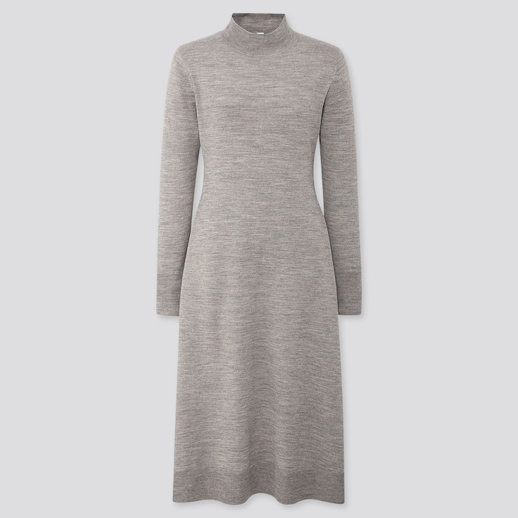 WOMEN MERINO-BLEND FLARE LONG-SLEEVE LONG DRESS, GRAY, large