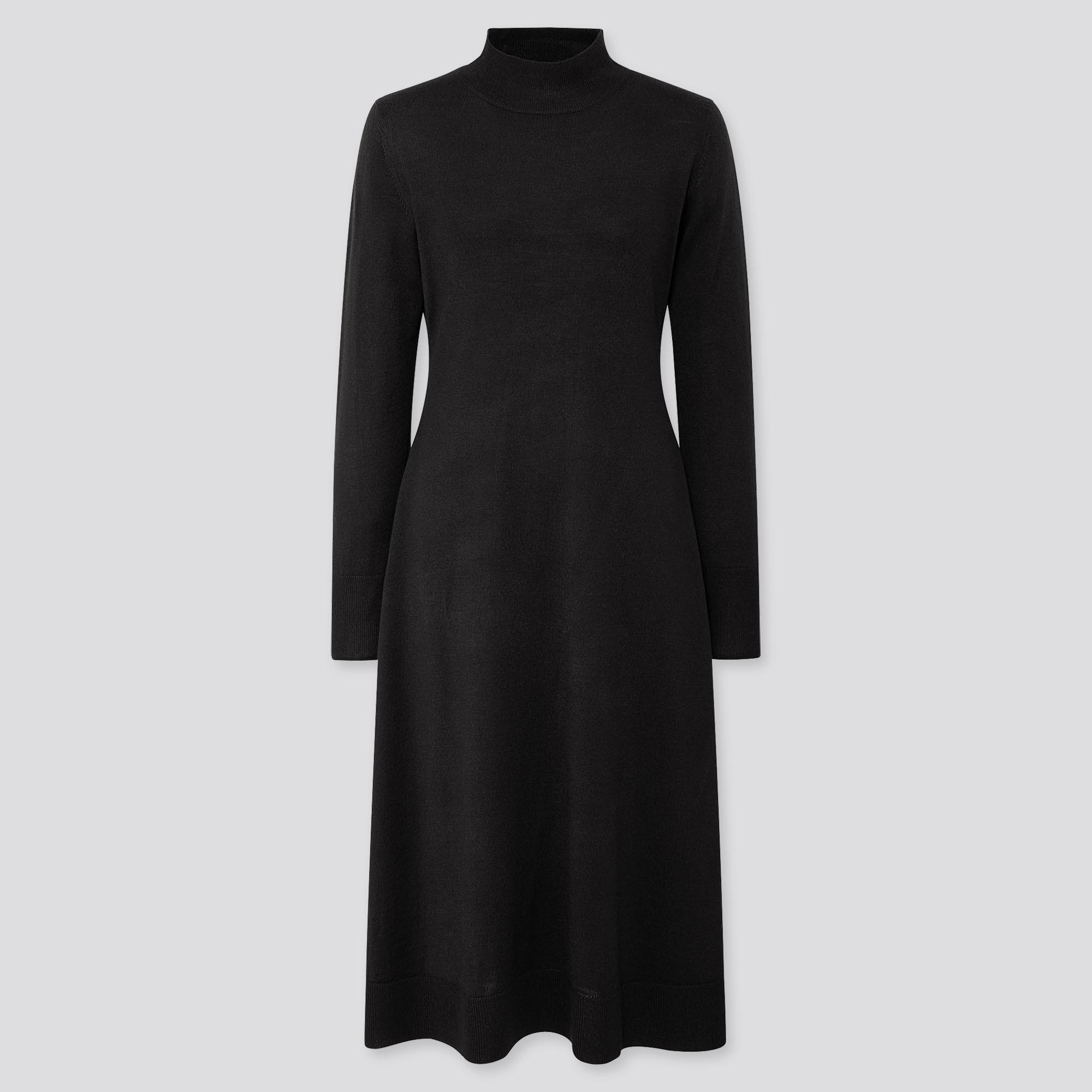 WOMEN MERINO-BLEND FLARE LONG-SLEEVE LONG DRESS