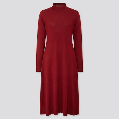WOMEN MERINO-BLEND FLARE LONG-SLEEVE LONG DRESS, WINE, medium