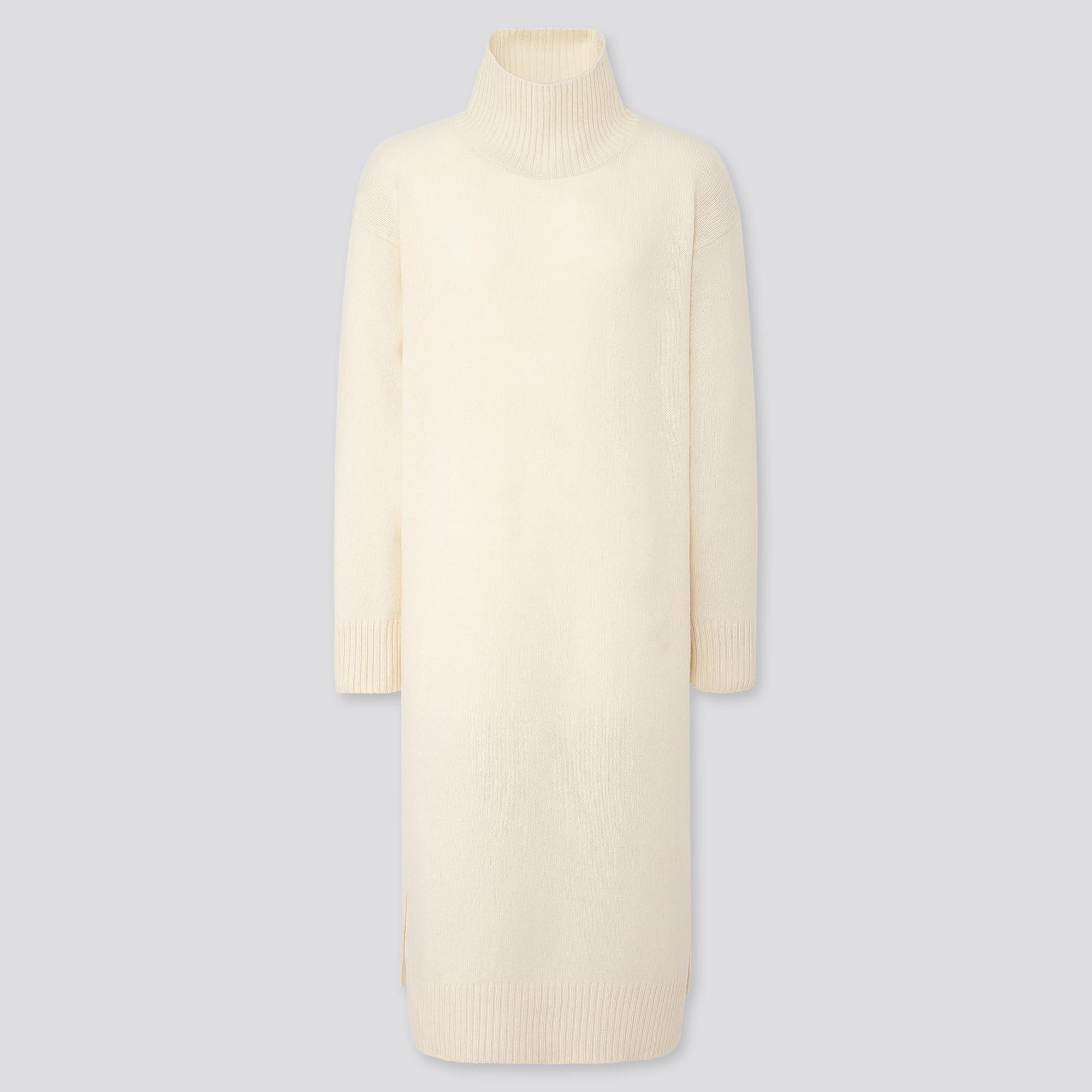 WOMEN WOOL-BLEND HIGH-NECK SLIT DRESS