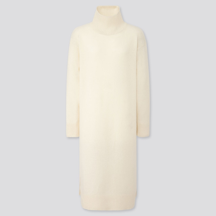 WOMEN WOOL-BLEND HIGH-NECK SLIT DRESS, OFF WHITE, large