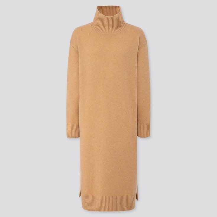 WOMEN WOOL-BLEND HIGH-NECK SLIT DRESS, BEIGE, large