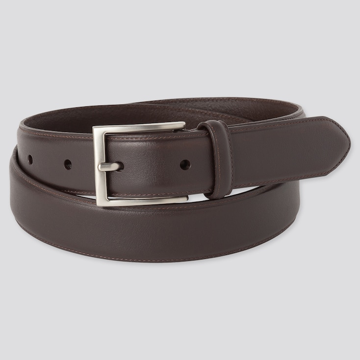Men Italian Leather Stitched Belt, Dark Brown, Large