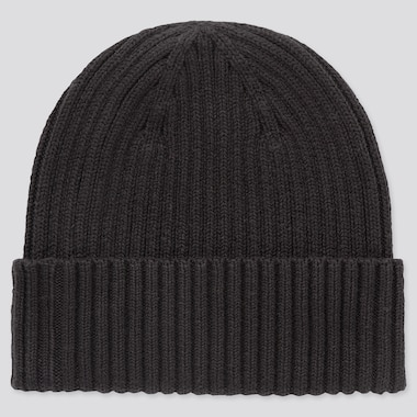 Rib Beanie, Black, Medium