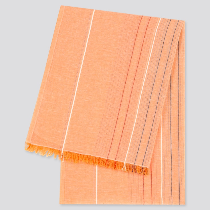 Women Cotton Linen Striped Stole, Orange, Large
