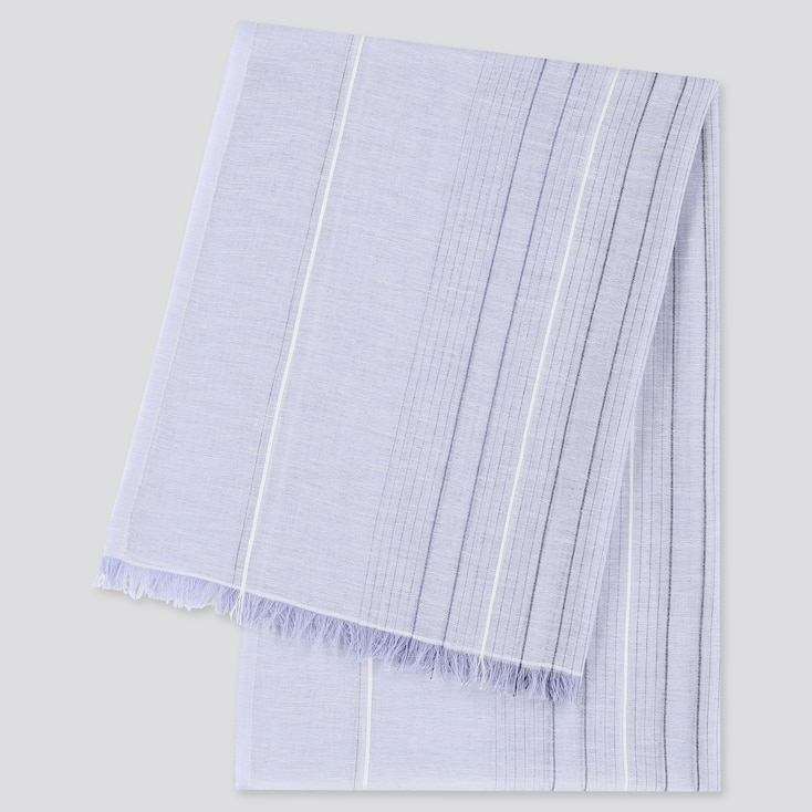 Women Cotton Linen Striped Stole, Blue, Large