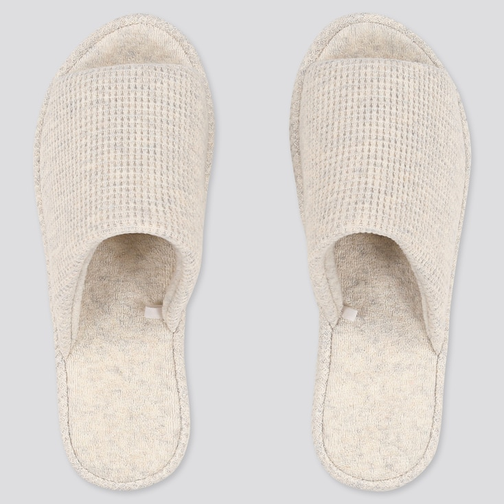 Waffle Slippers, Light Gray, Large