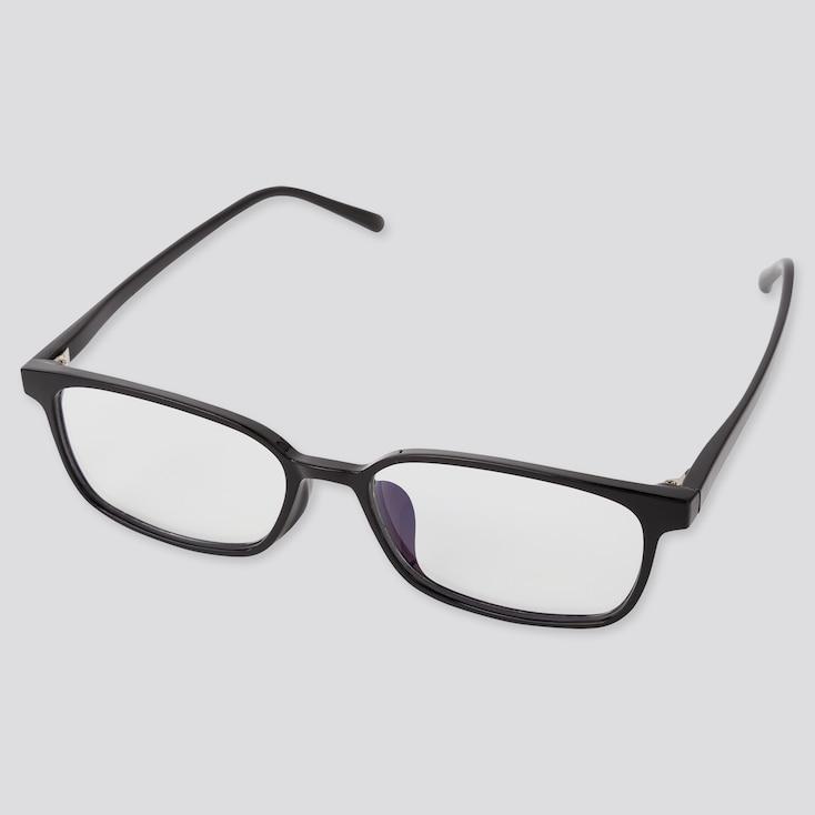 Square Clear Sunglasses, Black, Large