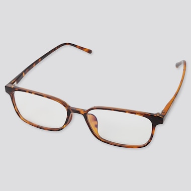Square Clear Sunglasses, Brown, Medium