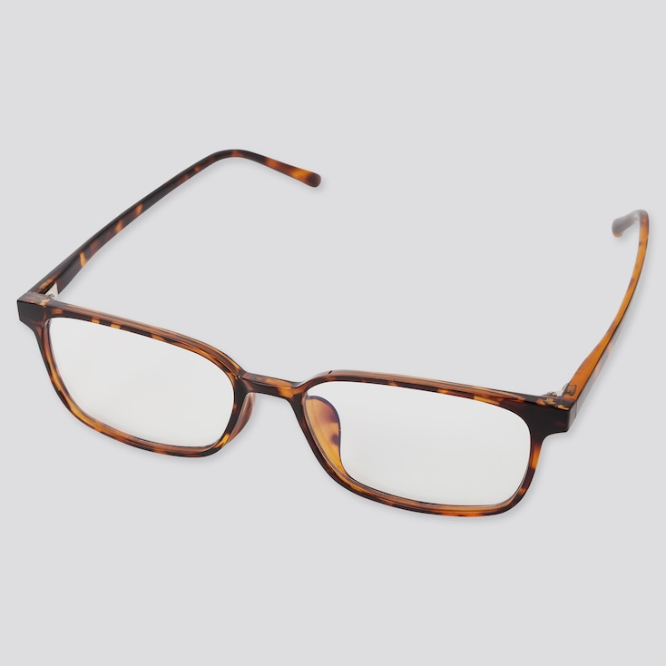 Square Clear Sunglasses, Brown, Large