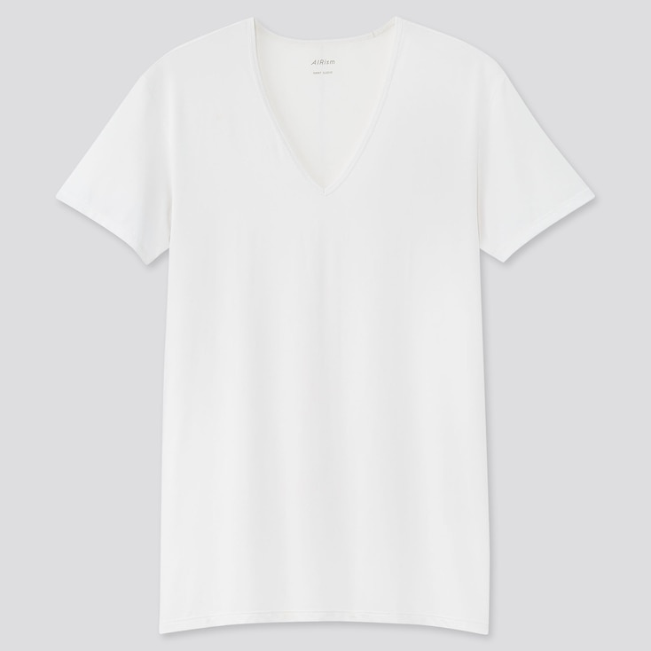 Men Airism V-Neck Short-Sleeve T-Shirt, White, Large