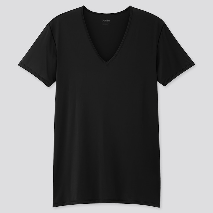 Men Airism V-Neck Short-Sleeve T-Shirt, Black, Large