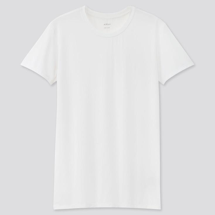 Men Airism Crew Neck Short-Sleeve T-Shirt, White, Large