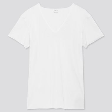 Men Airism Micro Mesh V-Neck Short-Sleeve T-Shirt, White, Medium