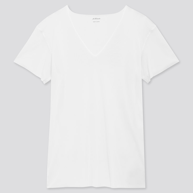 Men Airism Micro Mesh V-Neck Short-Sleeve T-Shirt, White, Large