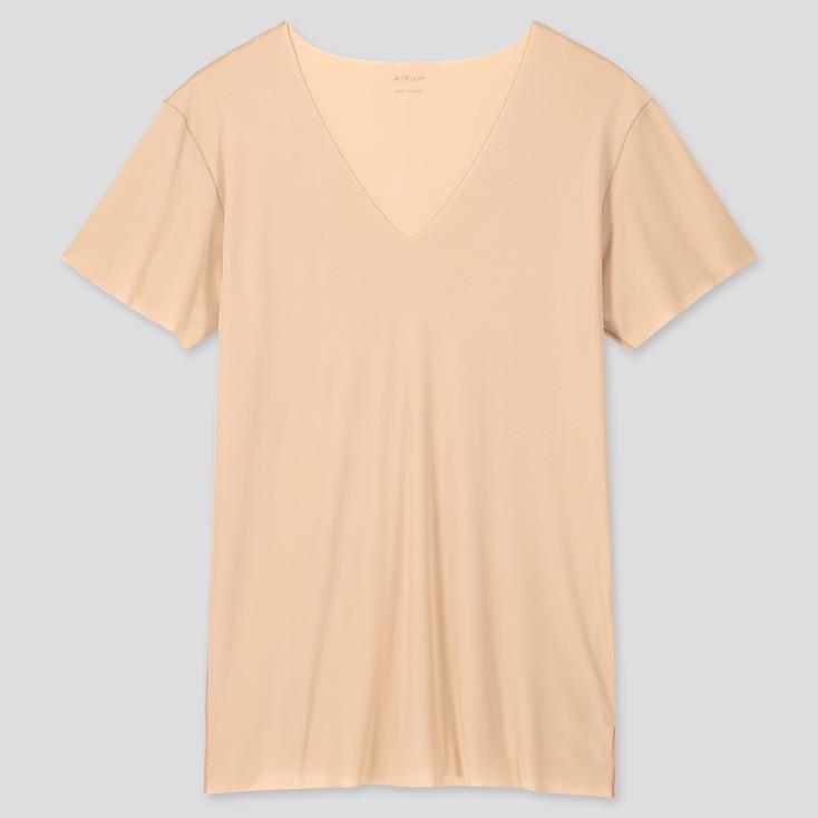 Men Airism Micro Mesh V-Neck Short-Sleeve T-Shirt, Beige, Large