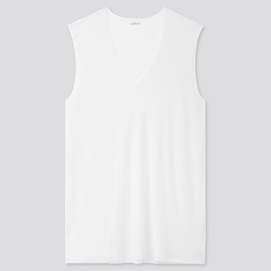 Men Airism Micro Mesh V-Neck Sleeveless T-Shirt, White, Medium
