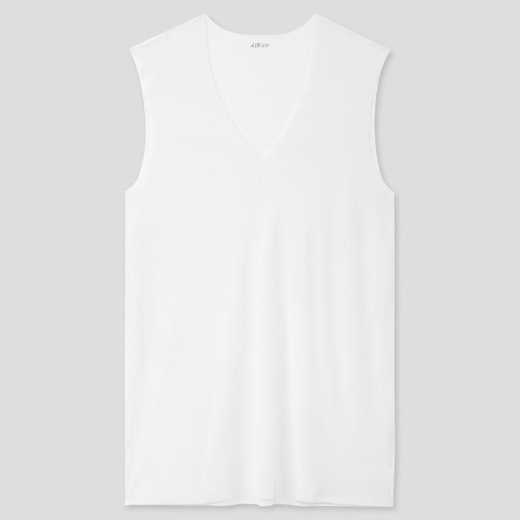Men Airism Micro Mesh V-Neck Sleeveless T-Shirt, White, Large
