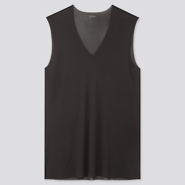 Men Airism Micro Mesh V-Neck Sleeveless T-Shirt, Black, Medium