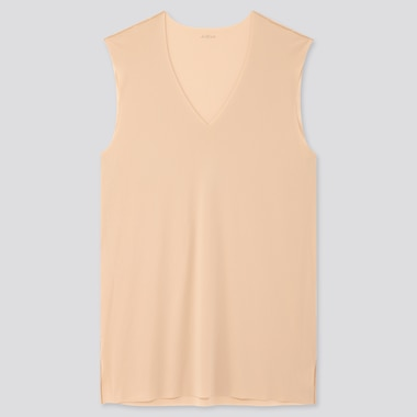 Men Airism Micro Mesh V-Neck Sleeveless T-Shirt, Beige, Medium
