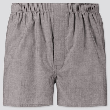 Men Woven Broadcloth Boxers, Gray, Medium