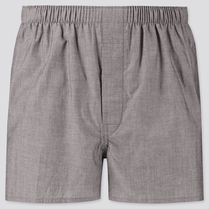 Men Woven Broadcloth Boxers, Gray, Large