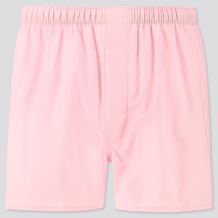 Men Woven Broadcloth Boxers, Pink, Large