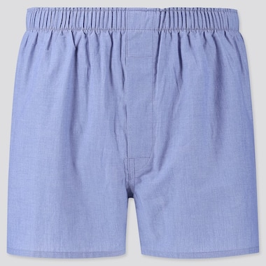 Men Woven Broadcloth Boxers, Blue, Medium