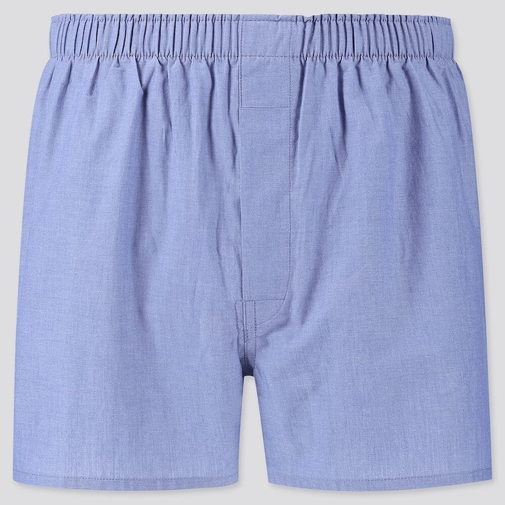 Men Woven Broadcloth Boxers, Blue, Large