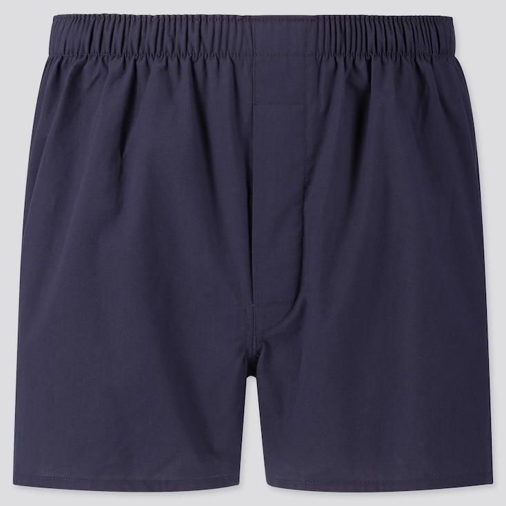 Men Woven Broadcloth Boxers, Navy, Large