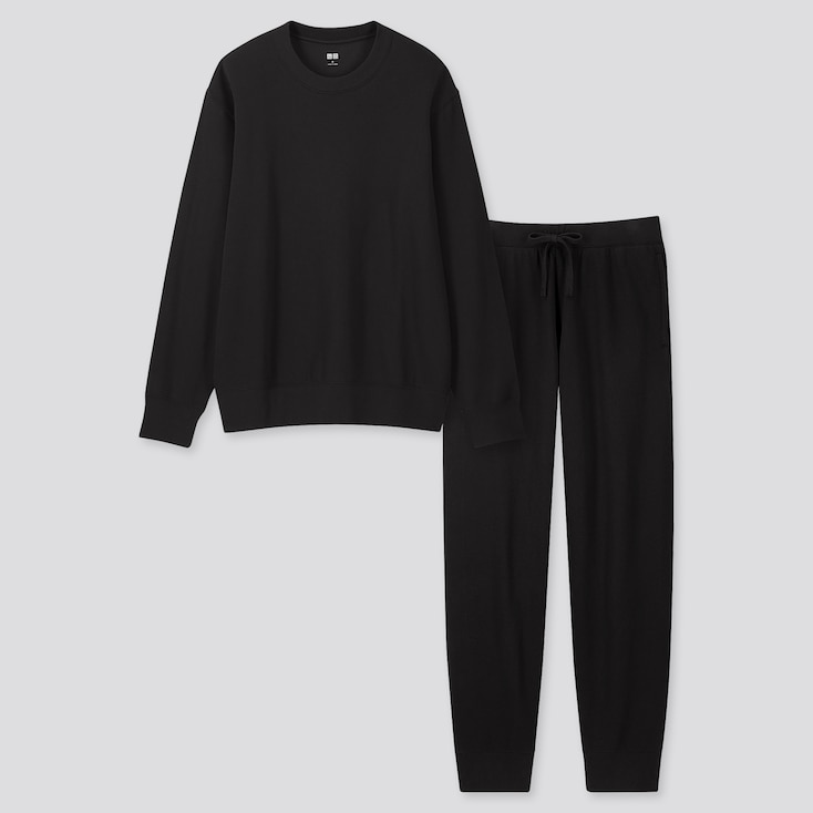 Men Ultra Stretch Long-Sleeve Sweat Set, Black, Large