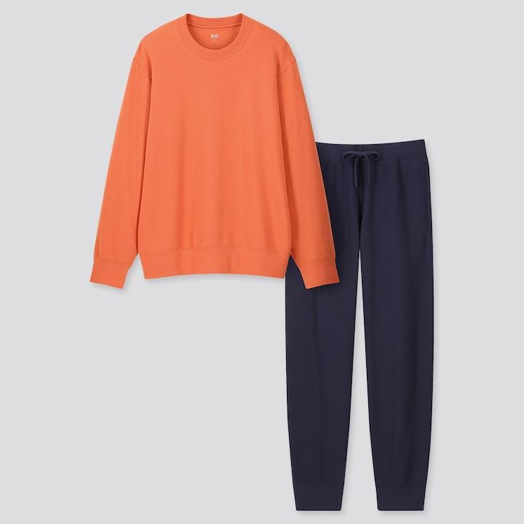 Men Ultra Stretch Long-Sleeve Sweat Set, Orange, Large