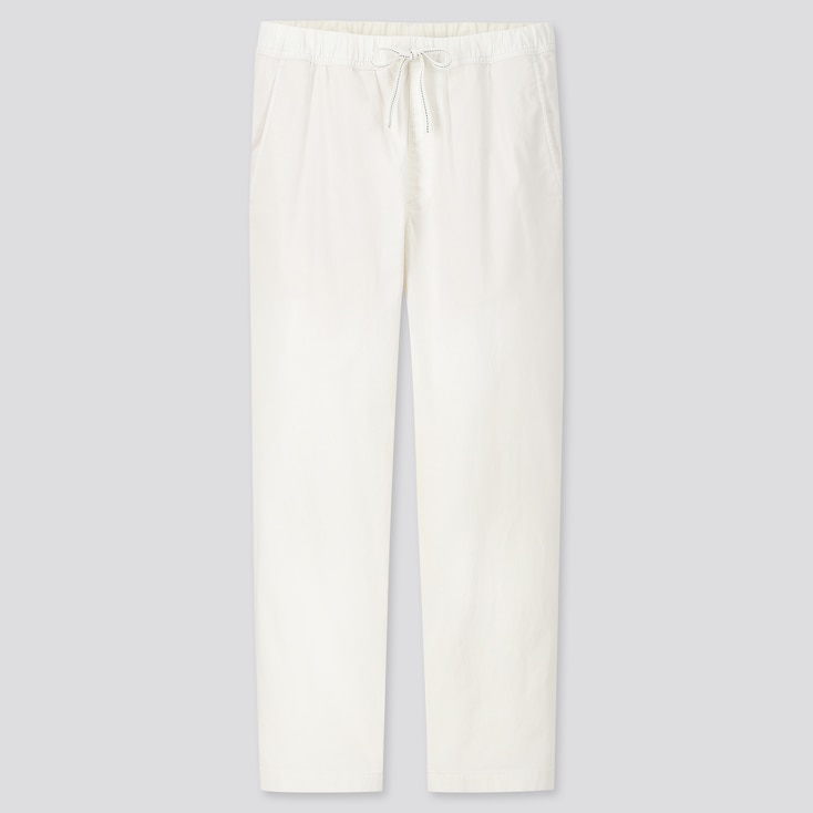 Men Cotton Relaxed Fit Ankle-Length Pants, Off White, Large