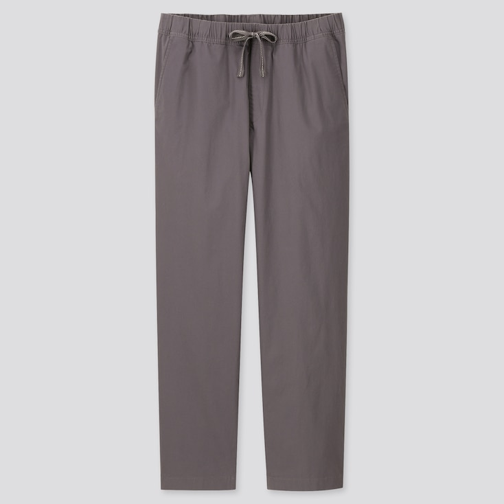 Men Cotton Relaxed Fit Ankle-Length Pants, Dark Gray, Large