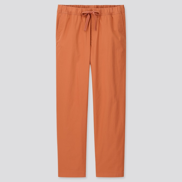 Men Cotton Relaxed Fit Ankle-Length Pants, Orange, Large