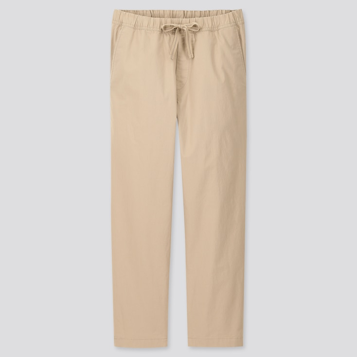 Men Cotton Relaxed Fit Ankle-Length Pants, Beige, Large