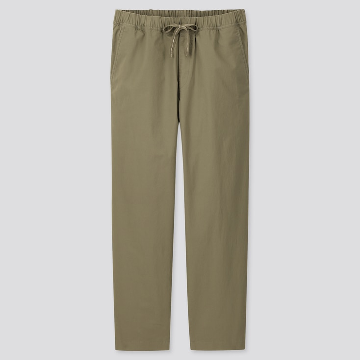 Men Cotton Relaxed Fit Ankle-Length Pants, Olive, Large