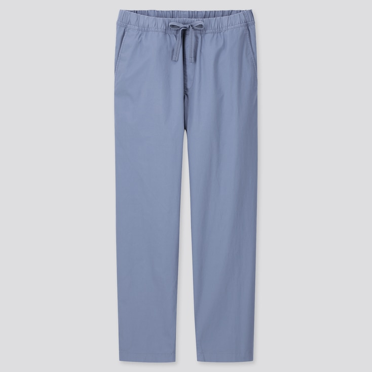 Men Cotton Relaxed Fit Ankle-Length Pants, Blue, Large