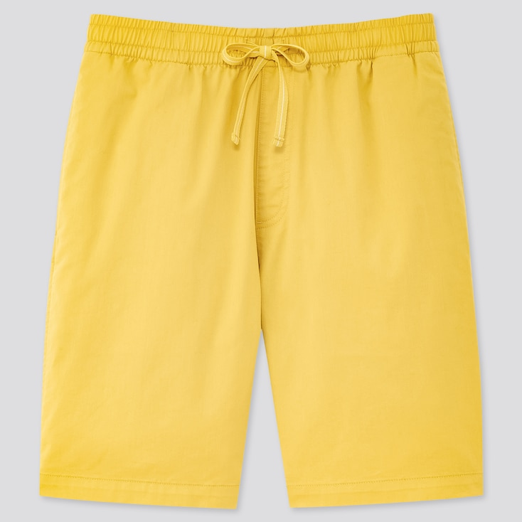 Men Dry Stretch Easy Shorts, Yellow, Large