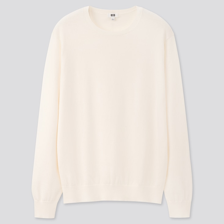 Men Supima© Cotton Crew Neck Long-Sleeve Sweater, Off White, Large
