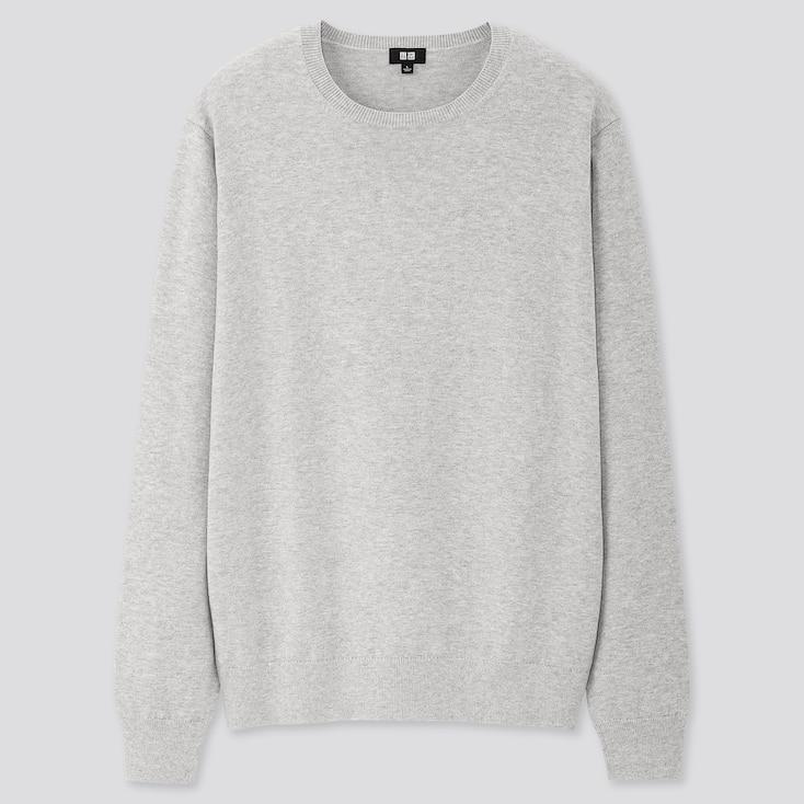 Men Supima Cotton Crew Neck Long-Sleeve Sweater, Gray, Large