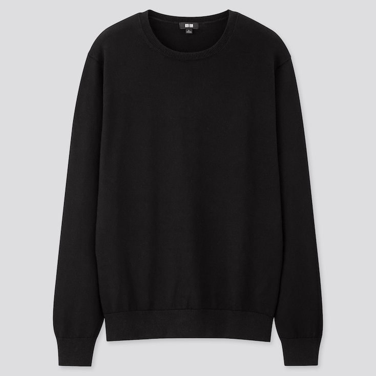 Men Supima© Cotton Crew Neck Long-Sleeve Sweater, Black, Large