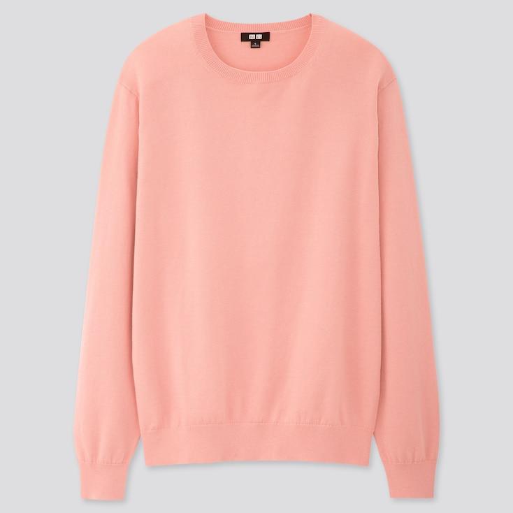 Men Supima® Cotton Crew Neck Long-Sleeve Sweater, Pink, Large