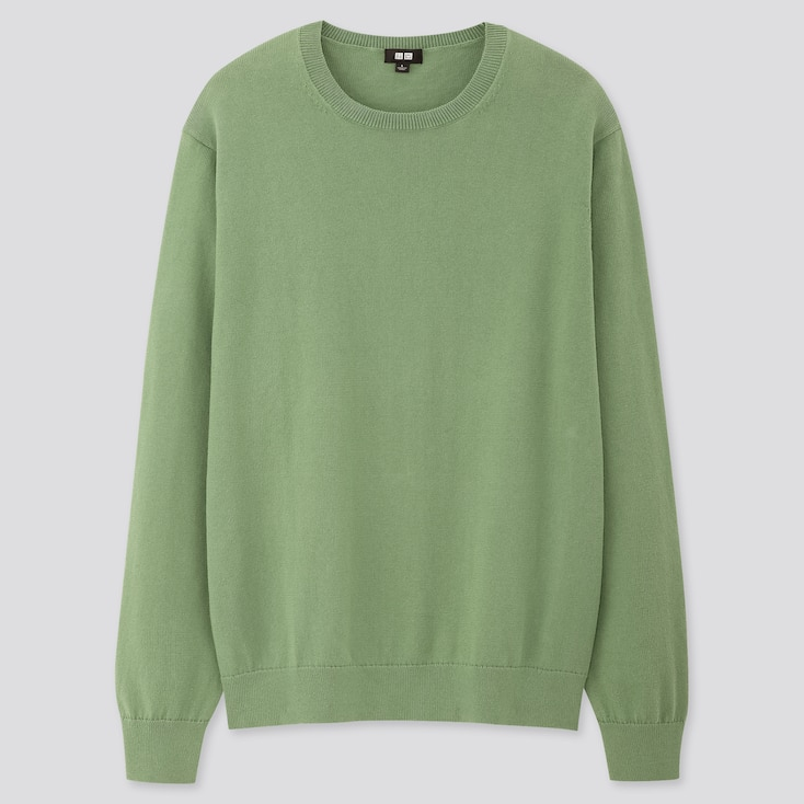 Men Supima© Cotton Crew Neck Long-Sleeve Sweater, Green, Large