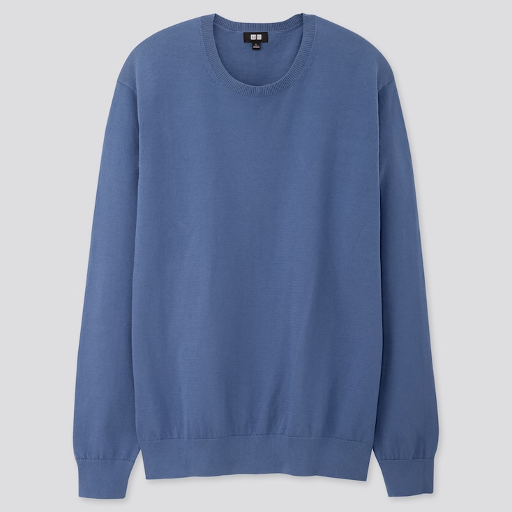 Men Supima© Cotton Crew Neck Long-Sleeve Sweater, Blue, Large