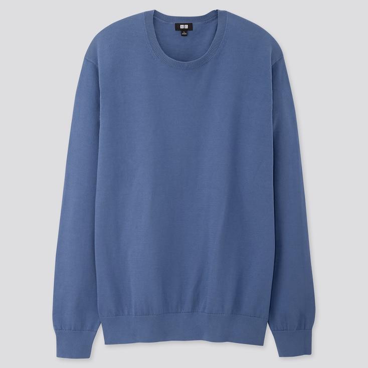 Men Supima® Cotton Crew Neck Long-Sleeve Sweater, Blue, Large