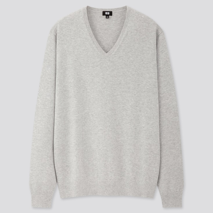 Men Supima® Cotton V-Neck Long-Sleeve Sweater, Gray, Large